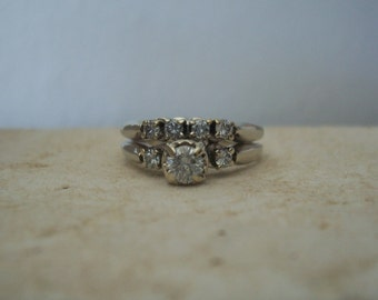 vintage natural diamond wedding ring set in white gold
