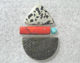 Pendant group with Pyrite, Sonoran Sunrise, Dalmatian Jasper, and Amazonite