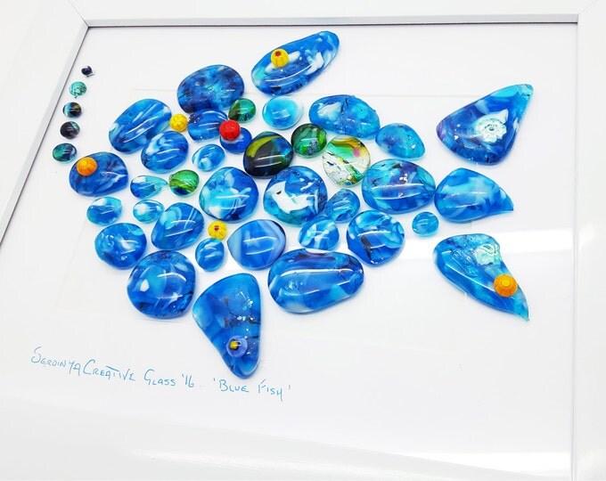 Fused glass wall art. Blue fish glass pebble panel. Bathroom home decor. Handcrafted decorative design Wedding birthday Giftware