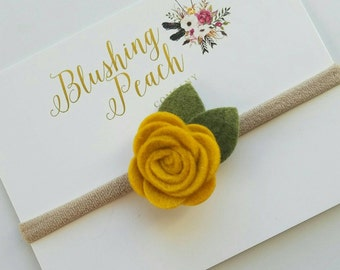 Mustard Felt Flower Headbands - Baby Headband - One Size Fit All  Flower Girl - Felt Bows - Photo Prop - Small Flowers - Newborn - Toddler