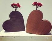 Wood Heart vase, wooden heart, wooden heart vase, heart shaped wood vase, carved wood heart, wedding centerpiece, heart decor, wedding gift