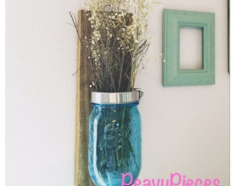 Mason jar vase, wall mount mason jar, mason jar decor, mason jar wall mount, farm house decor, rustic decor, mason jar sconce, gallery wall