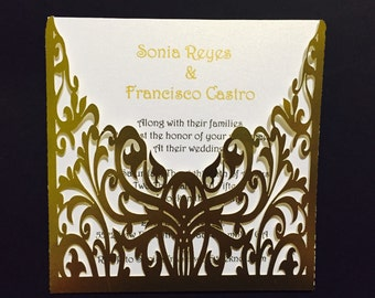 50 Laser cut wedding invitations any color. US SELLER