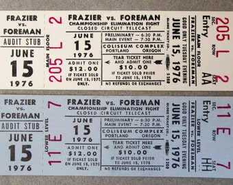 pair 1976 Joe FRAZIER vs George FOREMAN unused full boxing tickets.  2 different