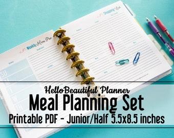 PRINTABLE Menu Planners – Junior/Half Letter Size 5.5x8.5 - Hello Beautiful Planner