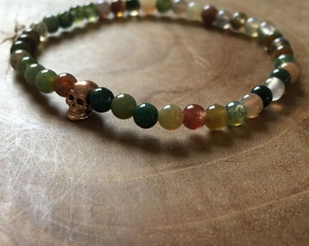 Protection Skull: an elastic beaded bracelet with rosegold tone skull and indian agate - gemstone, agate, green, earthy colors, brown, clear