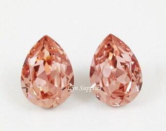 4320 VINTAGE ROSE 18x13mm 2pcs Swarovski Crystal Pear Teardrop Blush Pink Fancy Stones