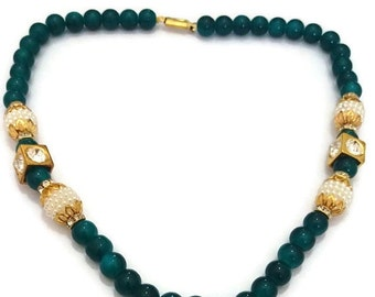 Necklace Turquoise pearl Jewelry Bollywood Necklace Designer Necklace Indian Handmade Jewelry Wedding Jewelry-Price for 01-IDJ05