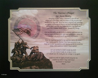 "US Marines Gift Personalized ""The Marine's Prayer"" For Dad Father's Day Husband Son Daughter Wife Mom Birthday Veterans Day USMC"
