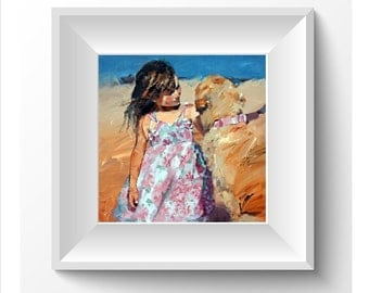 Limited edition print, impressionist art, modern art, dog art, animal print from painting, wall art, 'Puppy Love V'.Beautiful, gift for her.