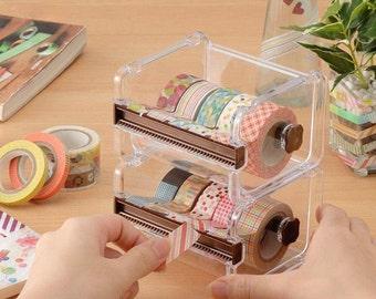 1 Layer Washi Tape Dispenser Storage Case-- Masking Tape Organizer --Tape Holder-- Tape Cutter
