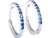 15mm Hoop Earrings Solid 925 Sterling Silver Channel Round Blue Violet Tanzanite CZ Hoop Huggies Earrings Gift