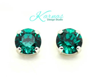 EMERALD 8MM Crystal Chaton Stud Earrings Made With Swarovski Elements *Pick Your Finish *Karnas Design Studio *Free Shipping*