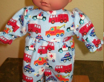 "Flannel ""Emergency Vehicle"" Sleeper for 10-12 Inch Baby Dolls"