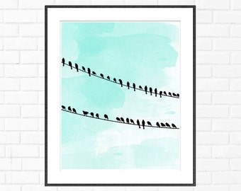 Birds on a Wire, Printable Home Decor, Birds on a Wire watercolor, Instant Download, Home Decor, Birds Decor, Wall Art, 8x10, 11x14