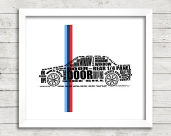 "BMW E30 3 Series, Automotive Art, Typographic Car, E30, Instant Download, Automotive Decor, Typographic Car, 8x10"", 14x11"", 16x20"""