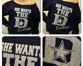 ON SALE Dallas: She wants the D!!! Off the shoulder sweatshirt