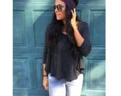 Thin Lace Headband Dark Plum