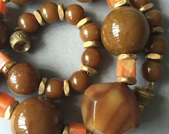 1920's French Louis Rousselet Brown Glass & Bakelite Beads Necklace