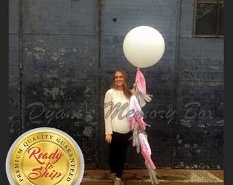 """36"""" Round Latex Balloon with Tassel Tail / Giant Latex Balloon / Birthday Balloons / Wedding Balloons / 3 ft Biodegradable Balloon"""