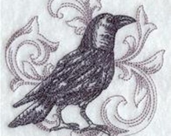 Embroidered Patch / applique - baroque crow - sew or glue on 3 x 4 inch ANY COLORS
