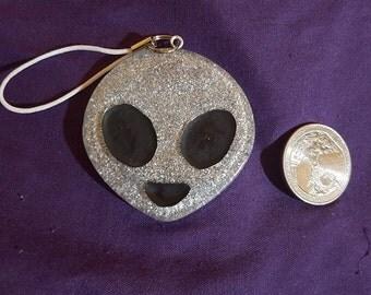 glitter alien phone key chain charm resin glitter space