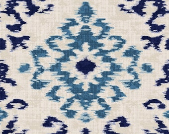 Navy and Denim Ikat Damask Organic Fabric - By The Yard - Boy / Girl / Gender Neutral