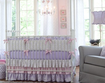 Girl Baby Crib Bedding: Lilac and Silver Gray Damask Crib Skirt 18-Inch 3-Tiered by Carousel Designs