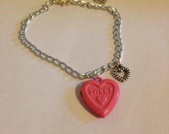 Kawaii Love Hearts locket bracelet