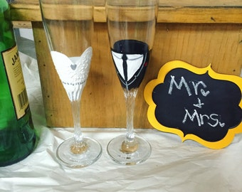 Wedding dress and tuxedo flute toasting champagne glasses set of two