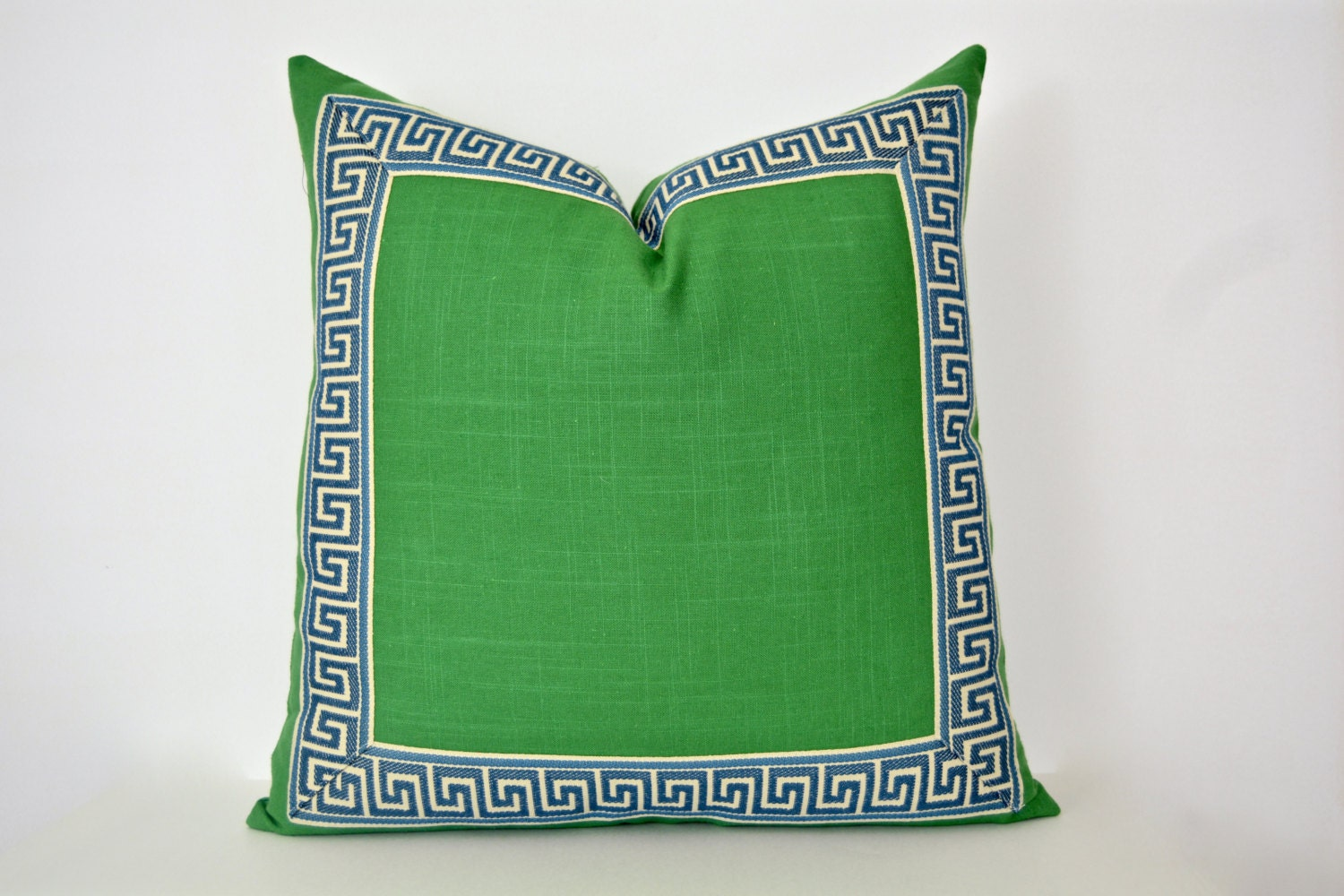 Green Pillow Cover With Greek Key Trim Kelly Green Linen