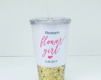 Flower Girl #2 Gift Personalized Tumbler or Sippy