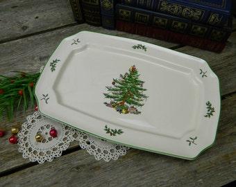 """Vintage Spode Christmas Tree 13 1/2"""" Rectangular Serving Platter"""