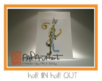 half IN half OUT - Original Acrylic painting on 21x15cm acrylic paper, Cat painting, Animal guardian painting