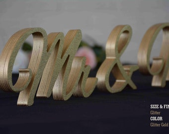 Gold Glitter Mr & Mrs Sweet Heart Table Sign, Freestanding Mr and Mrs sign, Sweetheart table, Reception, Bridal Decoration