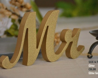 Mr & Mrs Sign, Mr Mrs Gold Glitter, Silver Glitter, Wall Decor and Mr and Mrs Table Sign
