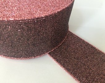 4 in -10 cm wide pink glitter elastic - shimmery waistband