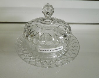 Teardrop & Thumbprint by US Glass /  footed cheese or butter plate with dome / EAPG