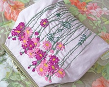 Hand Bag wool Embroidered Purse Hand embroidery Clutch Flower beaded embbroidery Textile Art Country Flowers