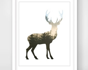 30% OFF SALE Deer Wall Art, Deer Print, Deer Forest Art, Printable Art, Deer Antlers Wall Art, Deer Antlers Print, Forest Print