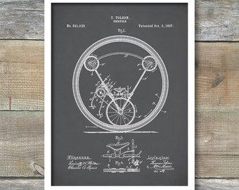 Patent Prints, Unicycle Art Print, Patent, Unicycle Vintage Art, Blueprint, Poster, Wall Art, Bicycle Décor, P405