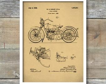 Patent Print, Harley Davidson Poster, Motorcycle Print, Harley Davidson Model JD Art, Motorcycle Art, P239
