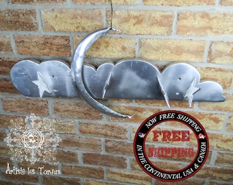 Stylized white pine coat rack and mild steel named'' Luna''. coat,wall,child,moon, star,magic,wood,christmas,decoration,bed,witch