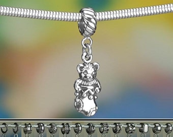 Sterling Silver Christmas Teddy Bear Charm or European Style Bracelet
