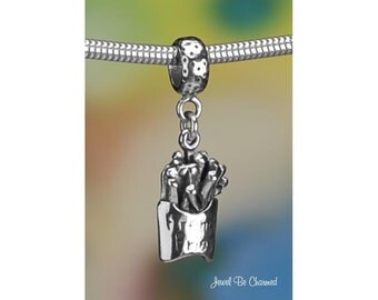 Sterling Silver French Fries Charm or European Style Charm Bracelet