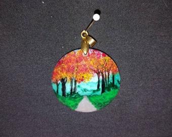 forest-scene handpainted ceramic pendant