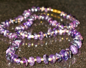 Vintage Amethyst Polished Gemstone Necklace 24 inch