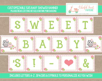 Instant Download, Owl Baby Shower Banner, Owl Printable Baby Shower Banner, Owl Baby Shower Printables, #0002