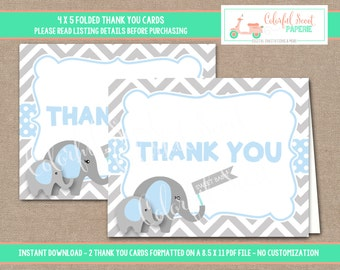 Printable Elephant Baby Shower Thank You Card, Baby Shower Thank You Cards, Elephant Thank You, Folding, Thank you, Blue, #0007