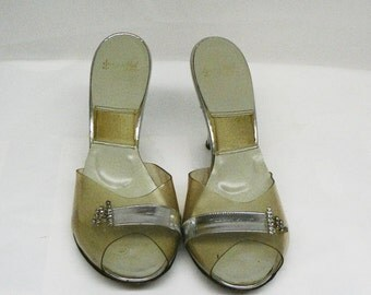 "Vintage Spring-o-lators silver and diamond like rhinestone high hees pumps retro pin-up size 6, 4"" heel"